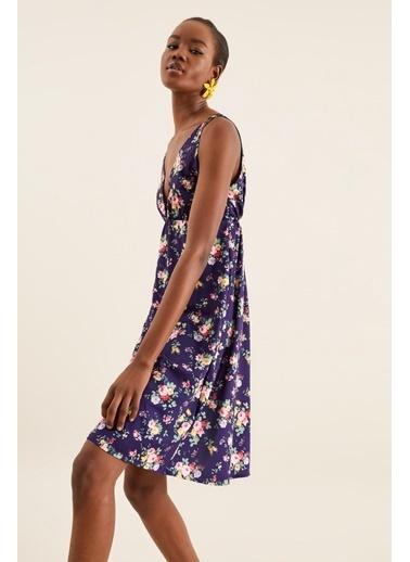 Quincey V Yaka Askılı Elbise Renkli